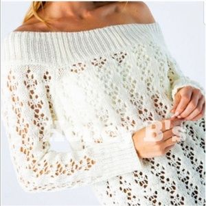 Sweaters - Off the shoulder open weave sweater ivory